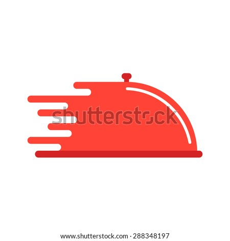 red dish like food delivery. concept of cooking, waiter, quick service, send goods, logistic, catering. isolated on white background. flat style trend modern brand design vector illustration