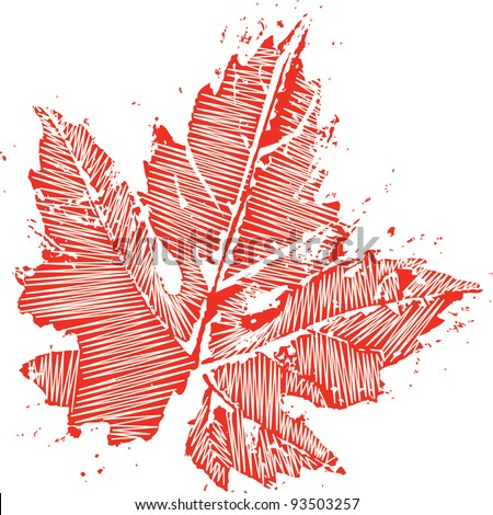red distress maple leaf