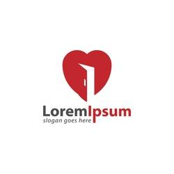 Red door with love or heart shape design logo