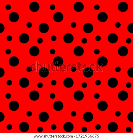 red dots seamless pattern, ladybird bug polka dot print for textile, fashion, scrapbook paper, wallpaper. Black circles on bright red as beetle spots decoration. Vector Сток-фото ©