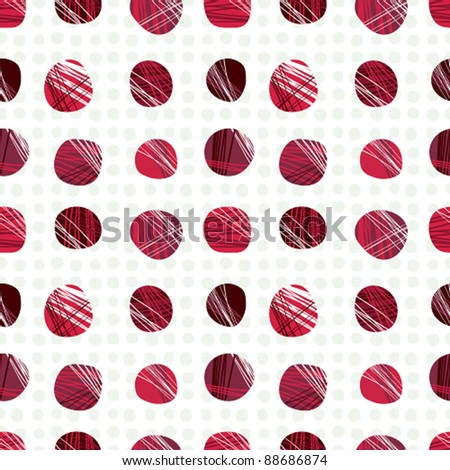 Red dots seamless pattern, vector background.