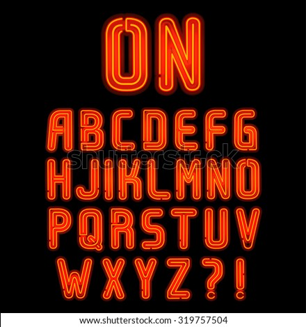 red double neon font part 1 of