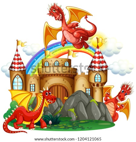 Red dragon at the castle illustration