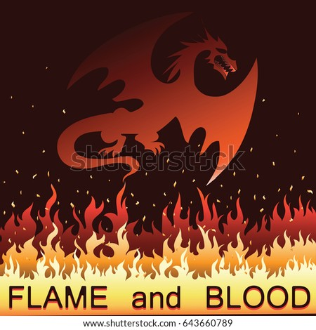 red dragon in fire  vector