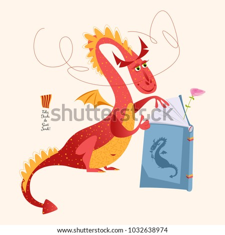 red dragon reading a book