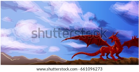 red dragon standing on top of
