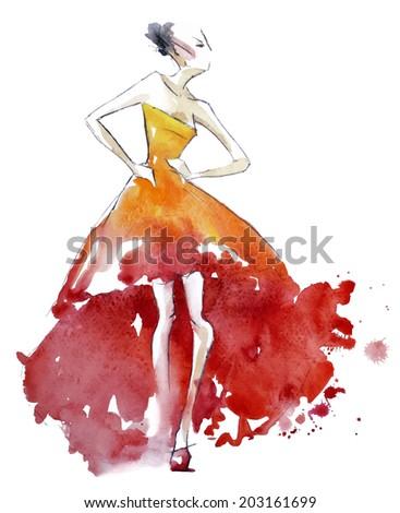 Red dress fashion illustration vector EPS 10