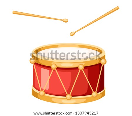 Red drum and wooden drum sticks. Musical instrument, drum machine. Flat vector illustration isolated on white background.