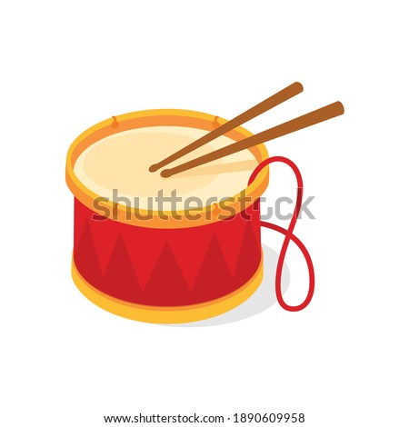 Red drum and wooden drum sticks. Musical instrument, drum machine. Vector illustration isolated on white background. Stockfoto ©