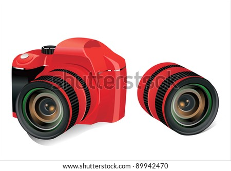 Red dslr camera and lens on a white background, vector