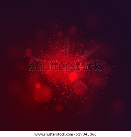 Red dust vector firework explosion. Abstract Holiday Light Rays. Vector Illustration.