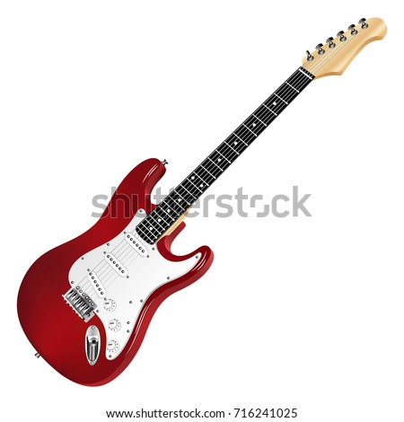 Red electric guitar, classic. Realistic 3D image. Vector detailed illustration isolated on a white background.