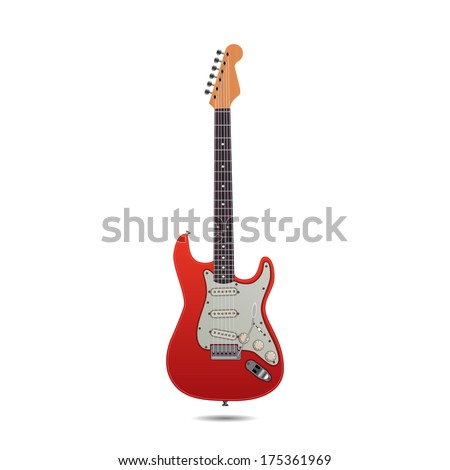 red electric guitar isolated on