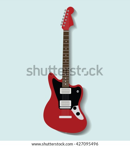 red electronic guitar