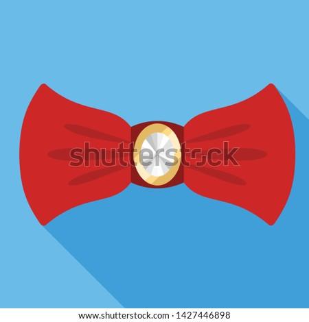 Red elegant bow tie icon. Flat illustration of red elegant bow tie vector icon for web design