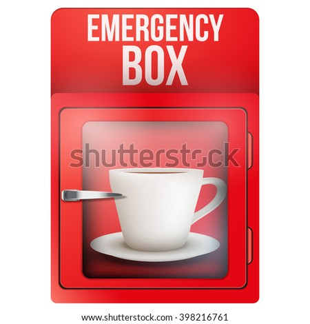 red emergency box with cup of