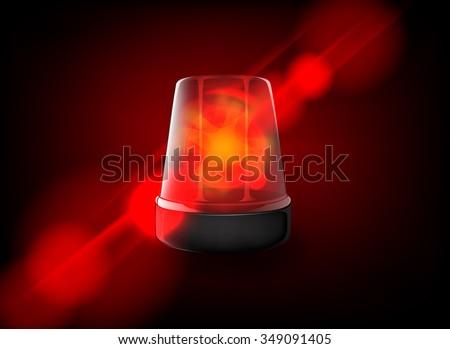 Red emergency flashing siren. Vector