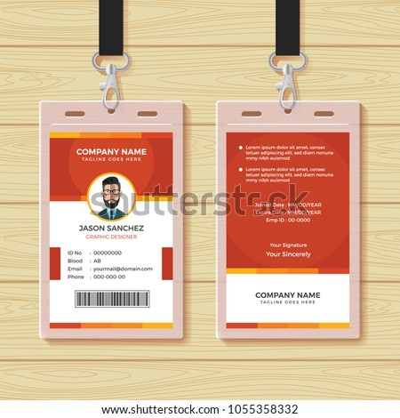 Red Employee ID Card Design Template