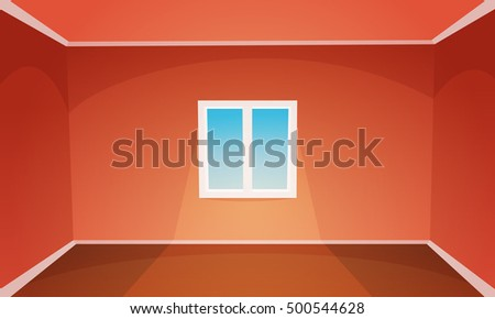 Red empty room with modern window, vector illustration.