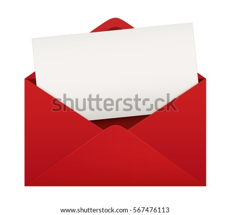 Red envelope with blank card. Full Isolated. Vector design.