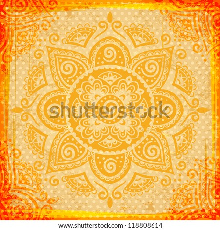 Red ethnic Indian ornament with vintage background