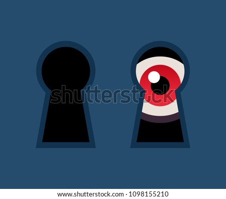 red eye looking through keyhole