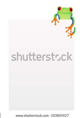 red eyed tree frog with blank