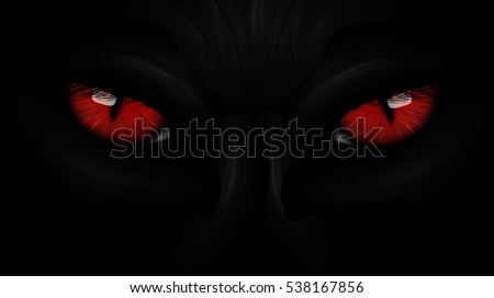 red eyes black panther on dark