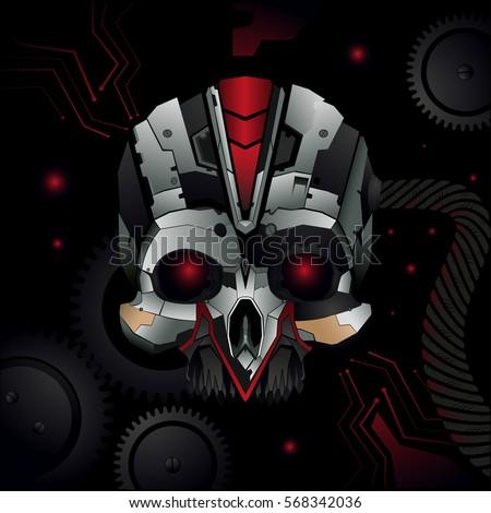 red eyes cyborg background