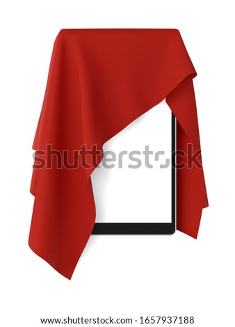 Red fabric covering a blank tablet pad gadget, vector illustration Stockfoto ©