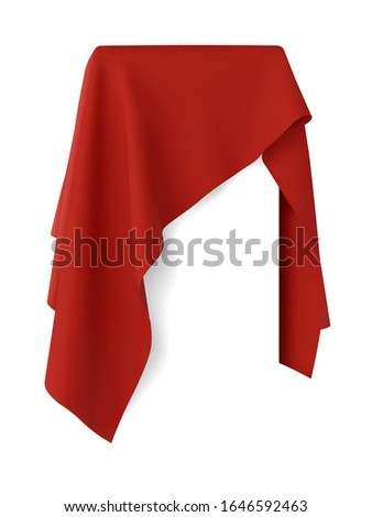 Red fabric covering a blank template vector illustration Stockfoto ©