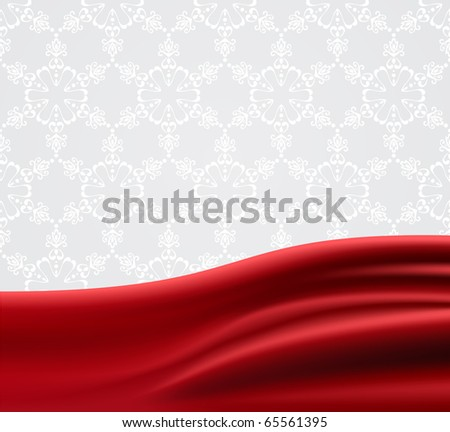 Red fabric/satin vector illustration and space for text, gradient mesh used.