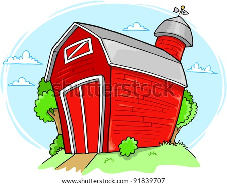 Red Farm Barn Building Vector Illustration