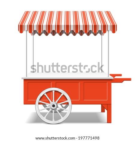 Red farmer's market cart. Vector.
