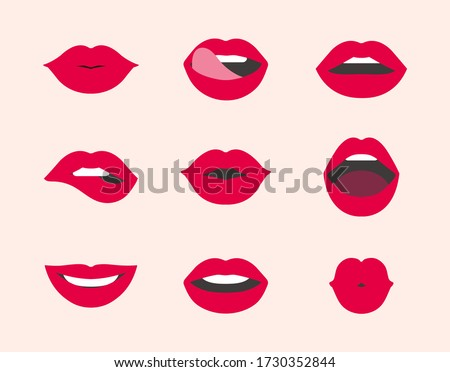 Red female lips collection. Collection of woman's lips expressed differernt emotions. Vector illustration of sexy woman's lips. Smile, kiss. beauty concept, Pop art, Trendy background.