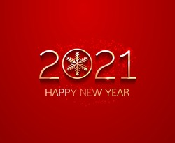 Red Festive Holiday Background with 2021 happy new year with gold numbers and golden glitter dust. Vector template
