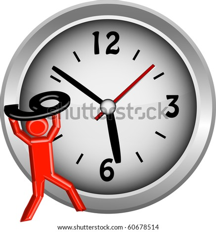 Red figure lifting the number 9 onto a clock face illustration vector