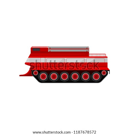 Red fire caterpillar vehicle, emergency vehicle, side view vector Illustration on a white background