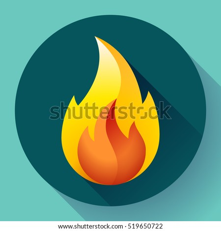 red fire flame icon vector logo