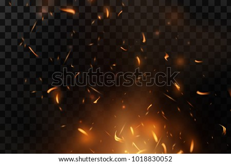 Red Fire sparks vector flying up. Burning glowing particles. Flame of fire with sparks in the air over a dark night. Firestorm texture. Isolated on a black transparent background.