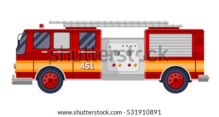 red fire truck fire engine on white vector illustration