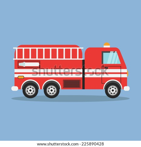 red fire truck with white...