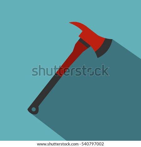 red firefighter axe icon flat