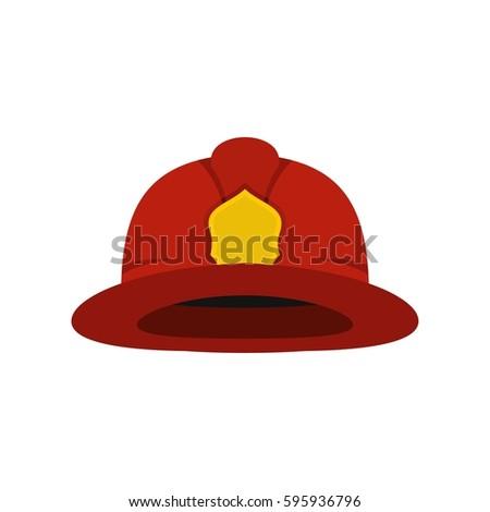 Red fireman helmet icon. Flat illustration of fireman helmet vector icon logo isolated on white background. Firefighter equipment