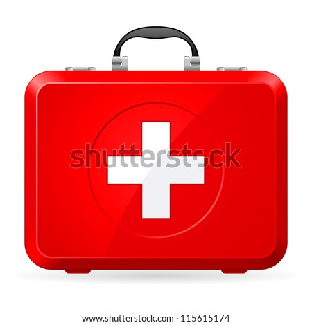 Red First Aid kit. Illustration on white