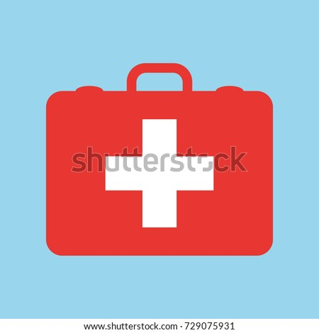 RED first aid kit isolated on blue background. Health, help and medical diagnostics concept