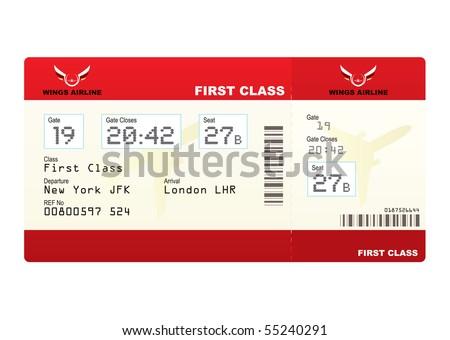 Class Plane Red First Class Plane Ticket