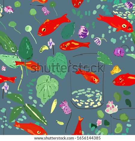 Red fish on a blue marine background, leaves, algae and flowers. Seamless vector pattern based on Matisse oil painting. EPS10