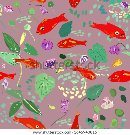 Red fish on a lilac background, leaves, algae and flowers. Seamless vector pattern based on Matisse oil painting. EPS10