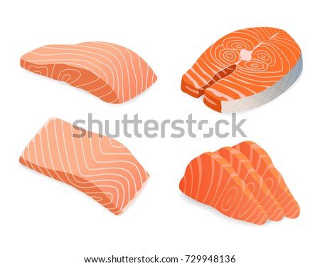 red fish salmon for sushi food menu vector illustration Isolated white background.